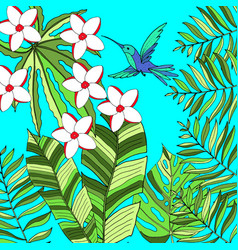 Floral paradise hand drawn tropic background vector