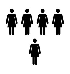 people icon group of women team glyph pictogram vector image vector image