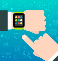Smart Watch concept with mobile apps icons vector image vector image