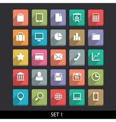 Trendy icons with long shadow set 1 vector