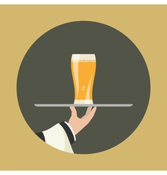 Waiter with glass of beer vector image