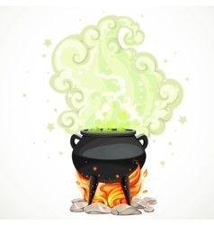 Witches cauldron with green potion and steam to vector image vector image