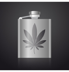 alcohol silver hip flask with weed symbol eps10 vector image