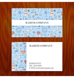 Business Card with Marine Sea Sketch Hand Drawn vector image vector image