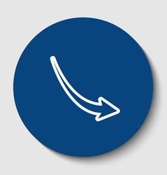 declining arrow sign white contour icon vector image