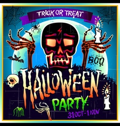 Halloween Party Design template with skull zombie vector image vector image