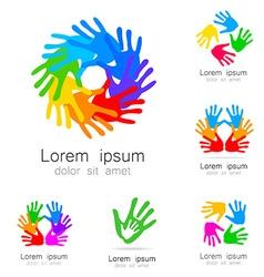 hand logo vector image vector image