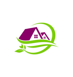 House green leaf nature logo vector
