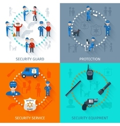 Security guard 4 flat square vector