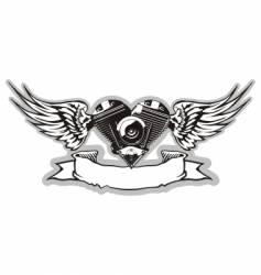 Winged motorbike symbol vector