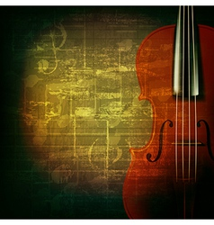 abstract green grunge music background with violin vector image