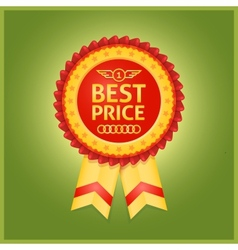 Best price red label on green vector image vector image