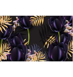 black tulips luxury card beautiful vector image vector image