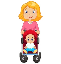Cartoon a mother pushing a baby stroller vector image vector image