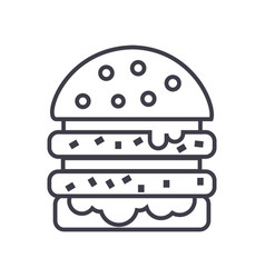 cheeseburger line icon sign vector image vector image