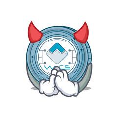 devil waves coin mascot cartoon vector image