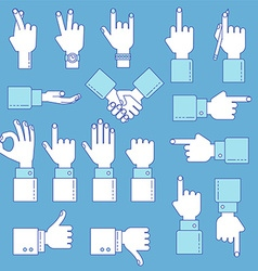 Hands line design set vector image