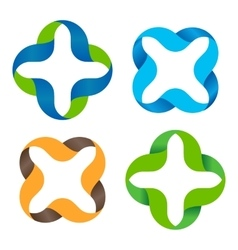 Isolated abstract colorful cross logo set vector