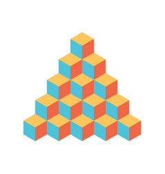 pyramid of cubes 3d isolated vector image vector image
