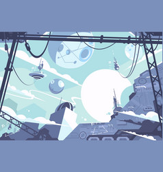 space colony with rockets and stations vector image