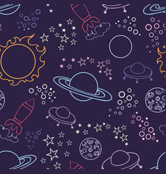 space pattern stylized seamless background vector image