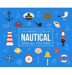 Summer nautical typographical background with vector image vector image