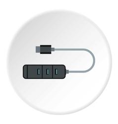 Usb hub icon flat style vector image