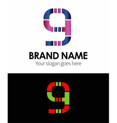 9 number logo icon vector