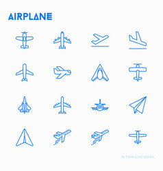 Airplane thin line icons set vector