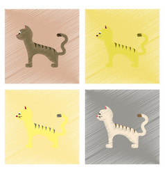 Assembly flat shading style icons cartoon cat vector