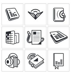 Audio book icon collection vector image