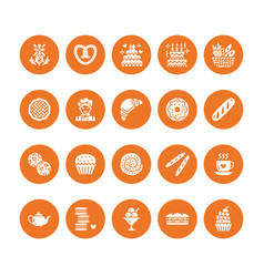 bakery confectionery flat glyph icons sweet shop vector image