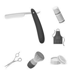barbershop and equipment monochrome icons in set vector image