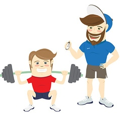 Bearded fitness personal trainer instructor and vector