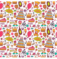 birthday background with symbols a holiday vector image