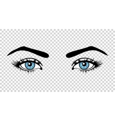 blue female eyes with long lashes and make vector image
