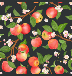 boho botanical apple seamless pattern vector image