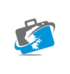 Briefcase traveling logo vector