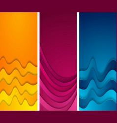 bright abstract wavy vertical banners design vector image