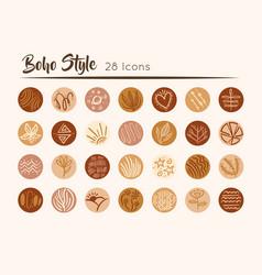 Bundle boho set icons vector