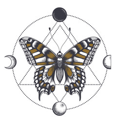 butterfly tattoo in triangle moon phases vector image
