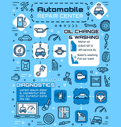 Car repair service auto spare parts vehicle tire vector