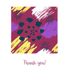 Card with color ink brushes grunge pattern vector
