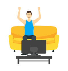 cartoon character man watching television on the vector image