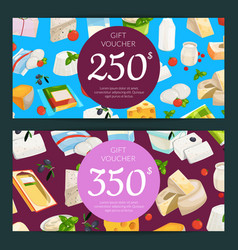 cartoon dairy and cheese products discount vector image