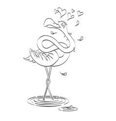Cartoon image of flamingo in love vector