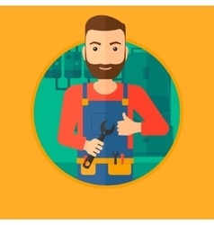 Cheerful repairman with spanner vector image