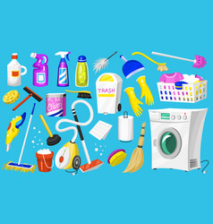 cleaning icons set home or room tools vector image