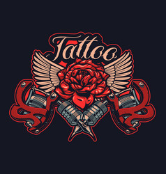 color tattoo machines with rose and wings in vector image