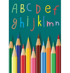 colored pencils and alphabet letters vector image